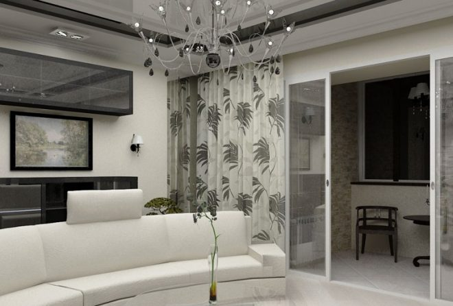 Гостиная с балконом