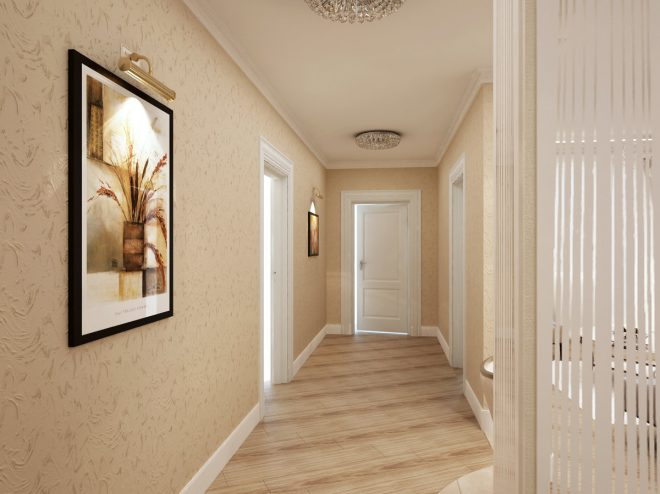 Однотонные обои в коридоре